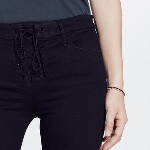 MOTHER Looker High-Rise Lace-Up Skinny Jeans Black